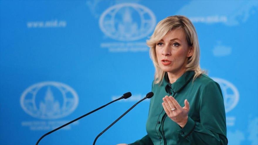 La portavoz de la Cancillería rusa, María Zajárova, durante una conferencia de prensa.