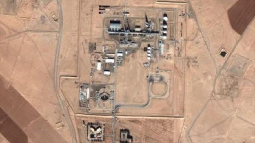 Una foto satelital de la base militar de EE.UU. cerca del campo gasífero Koniko, al este de la ciudad de Deir Ezzor, este de Siria.