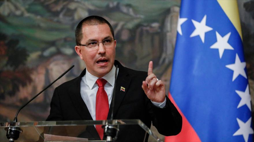 El canciller venezolano, Jorge Arreaza, habla en una conferencia de prensa en Moscú, capital de Rusia, 22 de junio de 2021. (Foto: AFP)