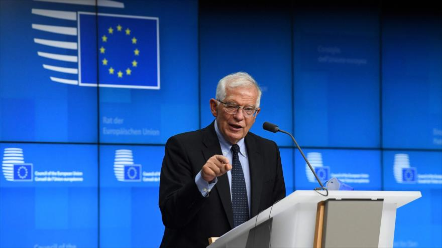 El jefe de la Diplomacia de la UE, Josep Borrell, participa una rueda de prensa tras la reunión del Consejo de Asuntos Exteriores en Bruselas, 12 de julio de 2021. (Foto: AFP)