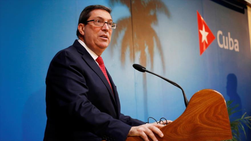 El ministro de Relaciones Exteriores de Cuba, Bruno Rodríguez, habla durante una conferencia de prensa en La Habana, 19 de febrero de 2019. (Foto: Reuters)