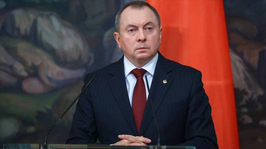 El Canciller bielorruso, Vladimir Makei, durante una rueda de prensa, en Moscú, Rusia, 2 de septiembre de 2020. (Foto: Reuters)