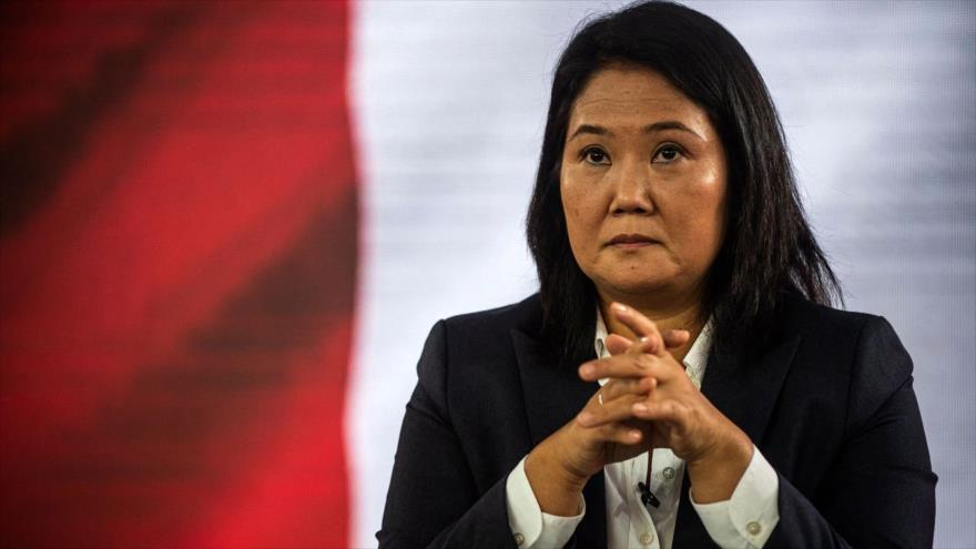 La candidata derechista Keiko Fujimori en una conferencia de prensa, 12 de junio de 2021. (Foto: AFP)