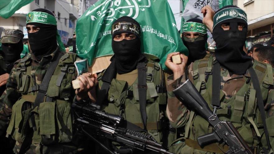 Combatientes de las brigadas de Ezzedine al-Qassam, el brazo militar de HAMAS.