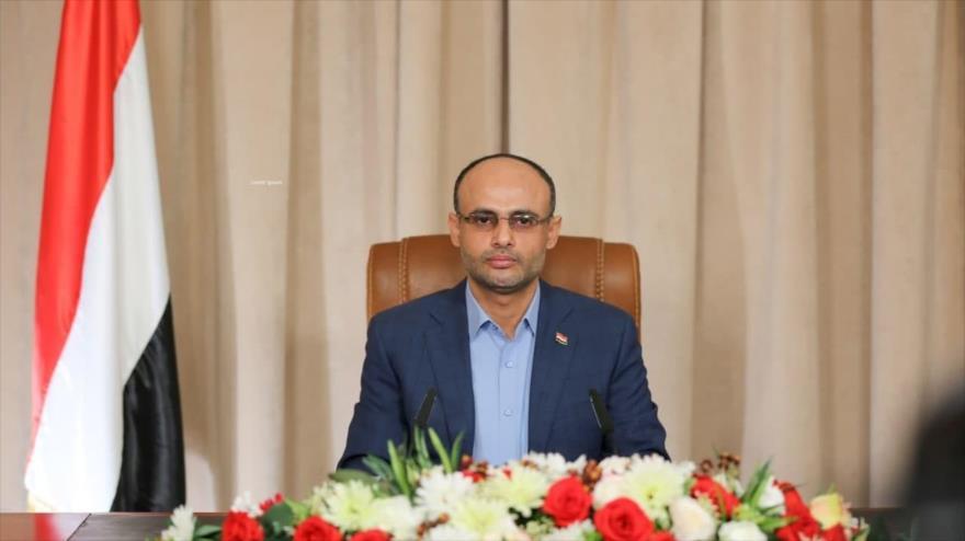 El presidente del Consejo Político Supremo de Yemen, Mahdi al-Mashat, durante un discurso televisado, 19 de julio de 2021. (Foto: Al Masirah)