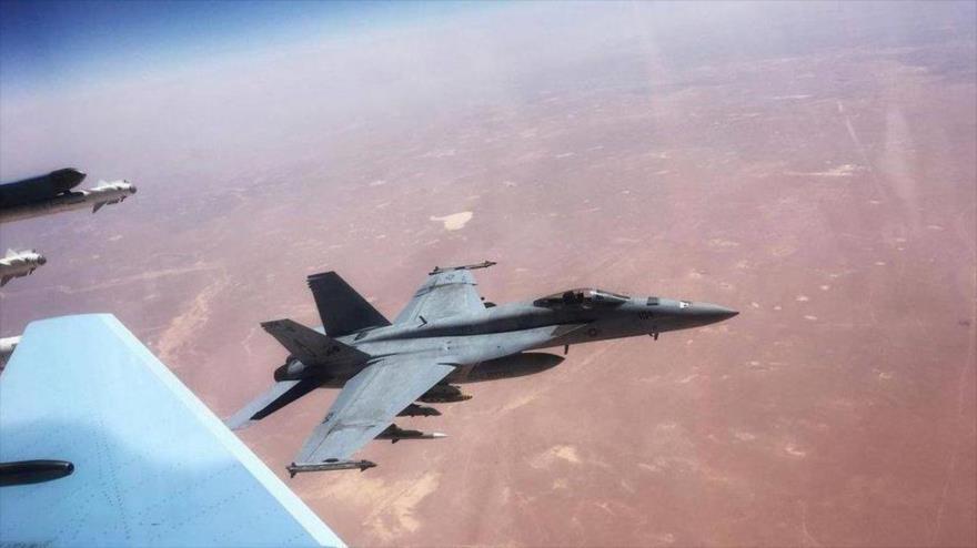 Imagen del encuentro peligroso del Su-30SM ruso y el F-18 estadounidense en los cielos de Siria, 22 de julio de 2021. (Foto: Avia.Pro)
