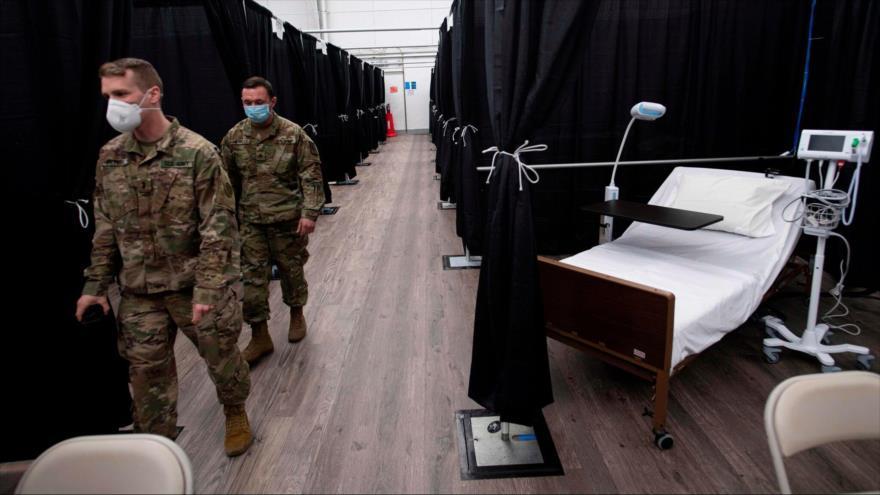 Soldados estadounidenses en un hospital temporal ubicado en la ciudad de Nueva York, 10 de abril de 2020. (Foto: Getty Image)