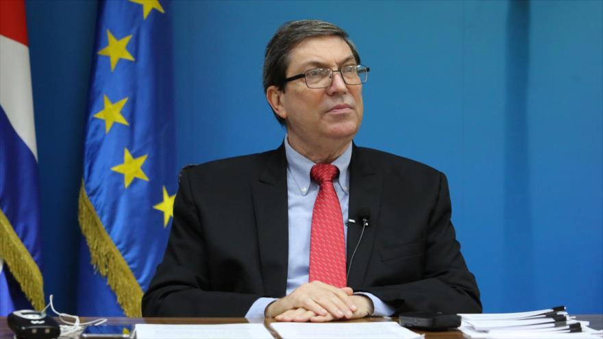 El canciller de Cuba, Bruno Rodríguez, durante el tercer Consejo Conjunto entre Cuba y la Unión Europea (UE), 20 de enero de 2021.