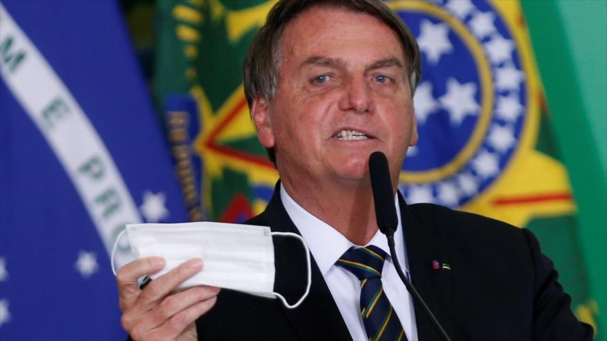 El presidente de Brasil, Jair Bolsonaro, en una rueda de prensa en Brasilia, la capital de Brasil, 1 de junio de 2021. (Foto: Reuters)