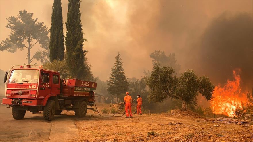 Bomberos luchan contra un enorme incendio forestal que arrasó una región turística en la costa sur de Turquía, 29 de julio de 2021. (Foto: AFP)