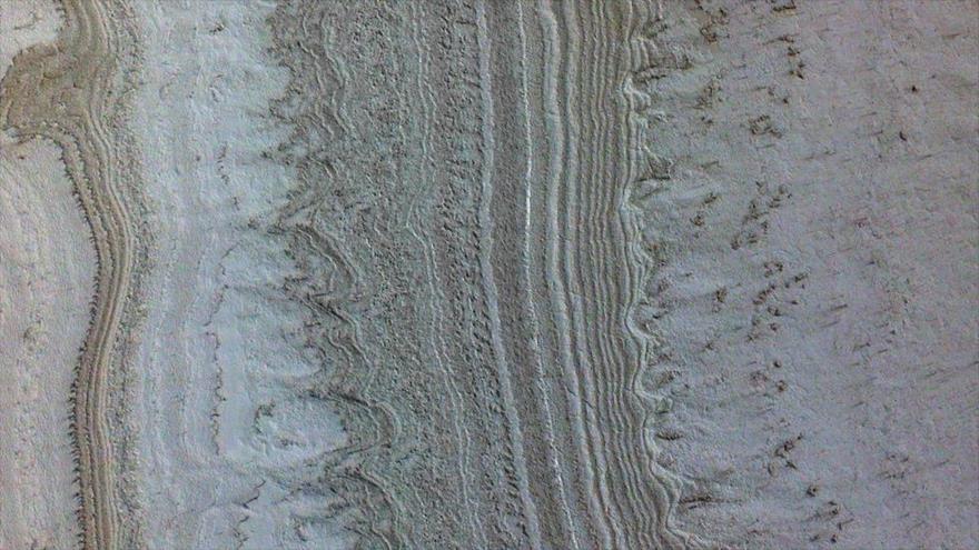 Capas de hielo en el polo sur de Marte. (Foto: NASA)