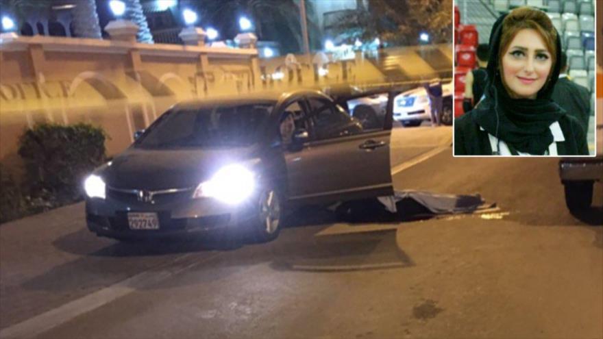 Foto muestra el cuerpo de Eman Salehi después de que le dispararan una vez en la cabeza frente a su hijo de seis años el 23 de diciembre de 2016 en Baréin.
