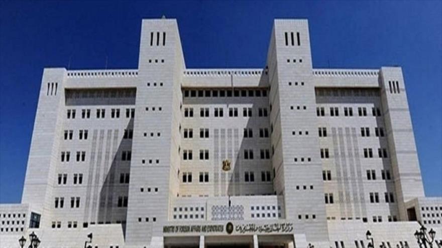 El edificio del Ministerio de Exteriores de Siria en Damasco, capital.