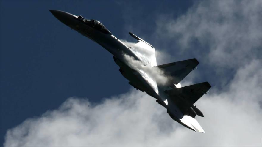 Un avión de combate Su-35 de la Fuerza Aérea de Rusia. (Foto: TASS)