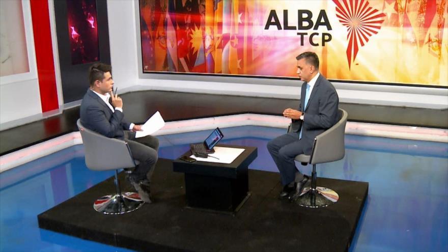 El secretario ejecutivo de la ALBA-TCP, Sacha Llorenti, en una entrevista exclusiva con HispanTV, 2 de agosto de 2021.