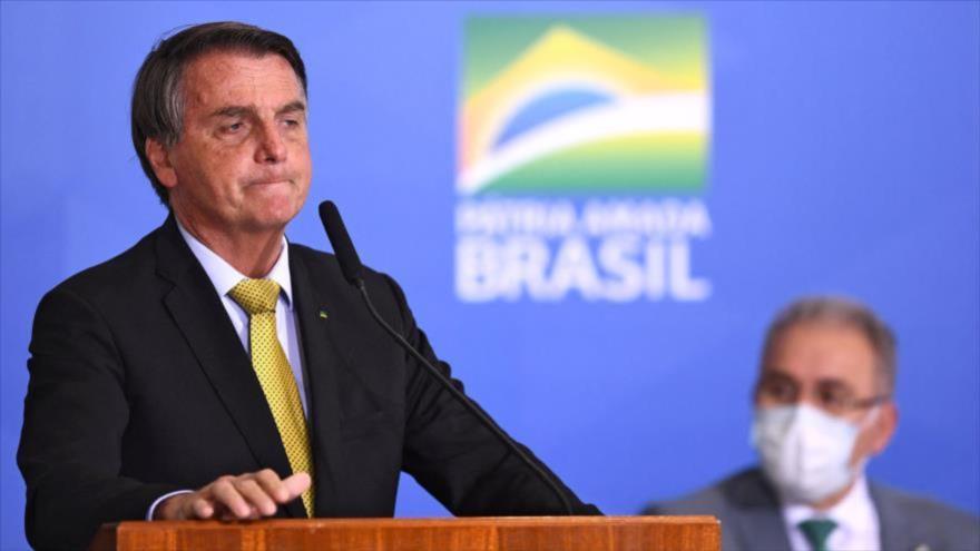 El presidente brasileño, Jair Bolsonaro, durante un discurso, en el Palacio Planalto de Brasilia, 29 de junio de 2021.