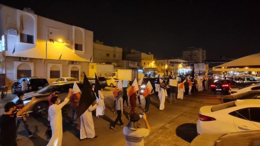 Protesta en Baréin contra el ataque sistemático a los rituales de Muharram por parte de las fuerzas de Al Jalifa, 6 de agosto de 2021.