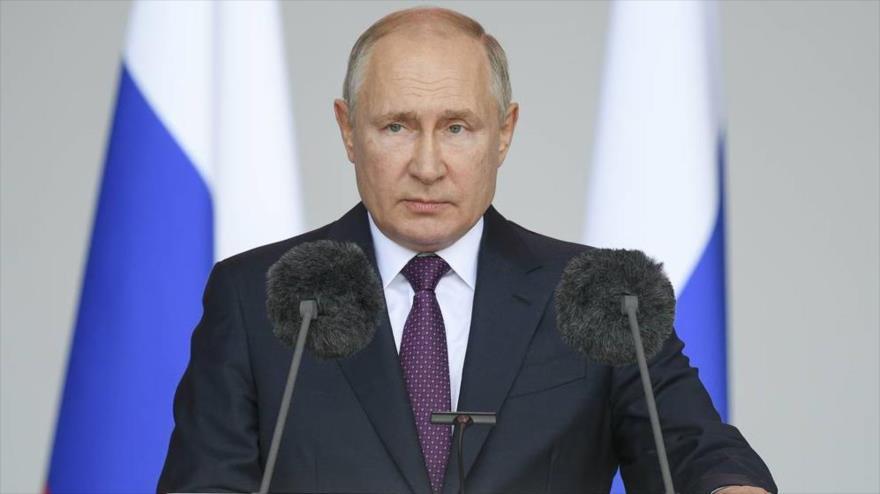 El presidente de Rusia, Vladimir Putin, ofrece un discurso en Moscú, la capital. (Foto: TASS)