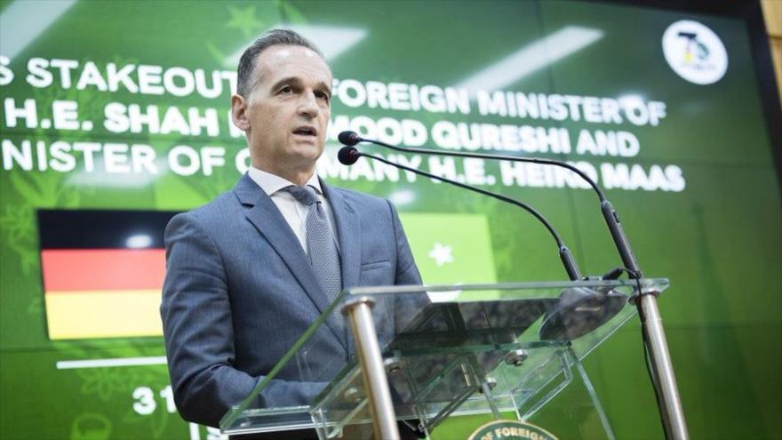 El ministro de Asuntos Exteriores de Alemania, Heiko Mass, ofrece un discurso durante una rueda de prensa en Islamabad, Paquistán, 31 de agosto de 2021.