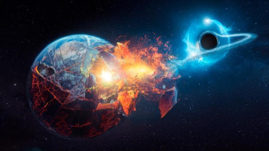 Una ilustración gráfica de lo que pasaría si un agujero negro se acercara a la Tierra.