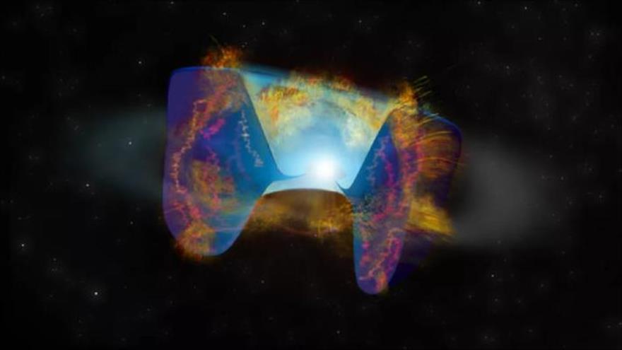 Ilustración que muestra las secuelas de una explosión causada cuando un agujero negro se abrió camino hasta liberarse de una estrella moribunda.