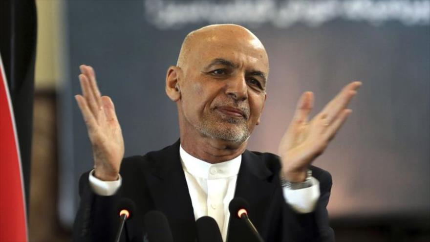 El expresidente afgano Ashraf Qani durante una ceremonia en el Palacio Presidencial de Kabul, la capital, 21 de marzo de 2021.