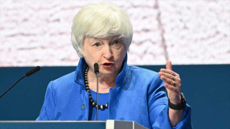 La secretaria del Tesoro de EE.UU., Janet Yellen, en una rueda de prensa en Venecia, Italia, 11 de julio de 2021. (Foto: AFP)