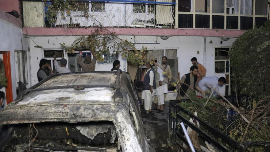 El Ejército de EE.UU. lanza un ataque con misil contra una casa en Kabul, capital de Afganistán, 29 de agosto de 2021.