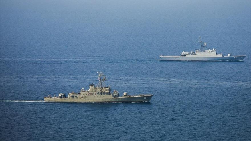 La 75.ª Flota Naval de la Armada de Irán tras navegar el océano Atlántico, 10 de septiembre de 2021. (Foto: YJC)