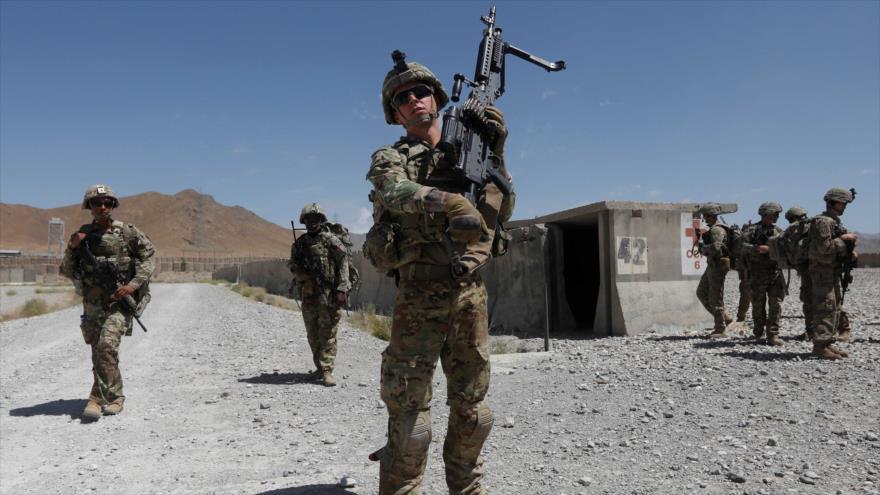 Soldados estadounidenses patrullan en una base en provincia de Logar, Afganistán, 7 de agosto de 2018.