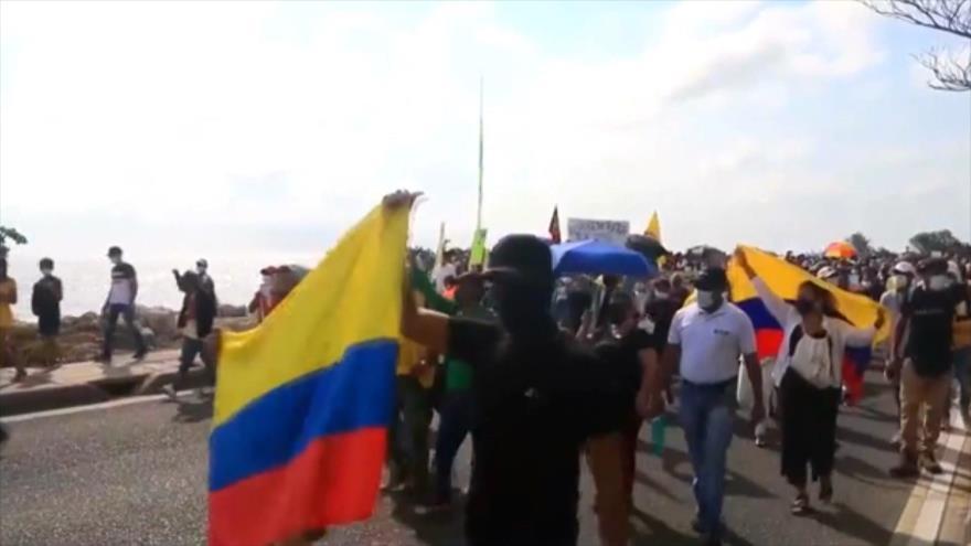Colombianos en Madrid protestan contra la visita de Duque a España