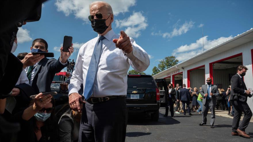 El presidente de EE.UU., Joe Biden, habla mientras visita el Memorial del 11-S en en Shanksville, Pensilvania, 11 de septiembre de 2021. (Foto: AFP)