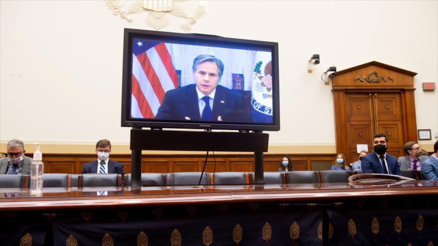 El secretario de Estado de EE.UU., Antony Blinken, comparece en el Congreso para explicar retiro de Afganistán, 13 de septiembre de 2021. (Foto: AFP)