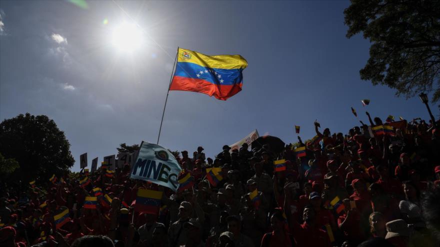 Venezolanos protestan contra sanciones de EE.UU., Caracas, 20 de febrero de 2020. (Foto: AFP)