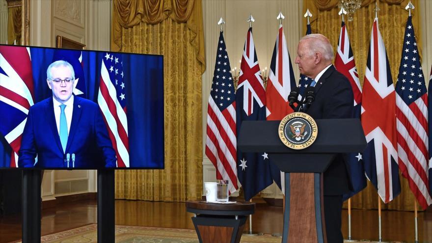 El presidente de EE.UU., Joe Biden, durante una reunión virtual con el premier de Australia, Scott Morrison, 15 de septiembre de 2021. (Foto: AFP)