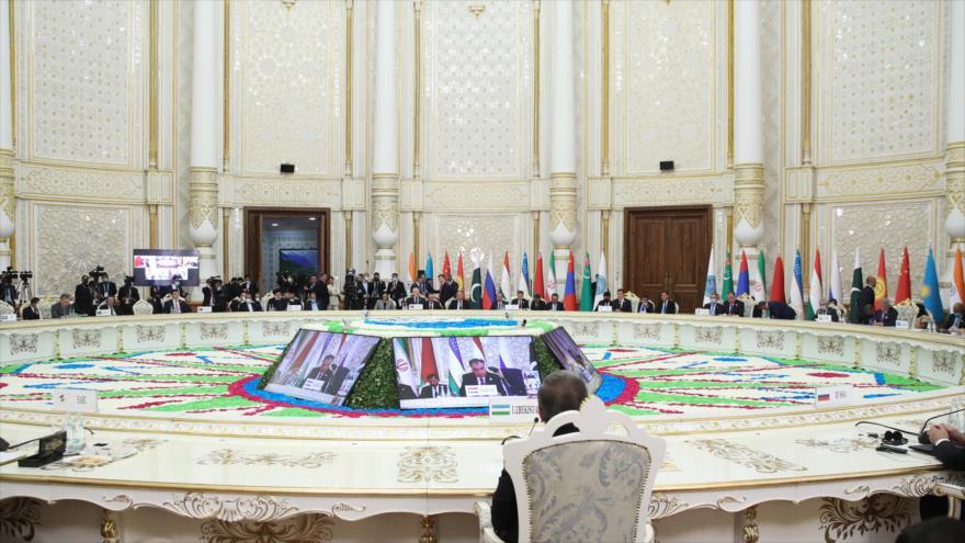 La 21.ª cumbre anual de la Organización de Cooperación de Shanghái (OCS) en Dushanbé, capital de Tayikistán, 17 de septiembre de 2021. (Foto: President.ir)