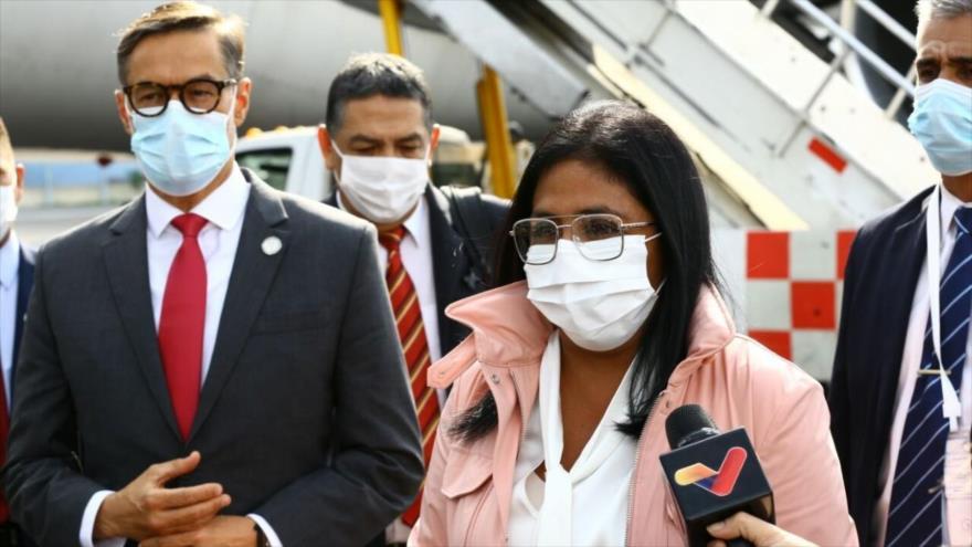 La vicepresidenta de Venezuela, Delcy Rodríguez, arriba a México, 17 de septiembre de 2021. (Foto: El Universal)