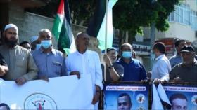 Gazatíes marchan para apoyar a prisioneros en cárceles israelíes