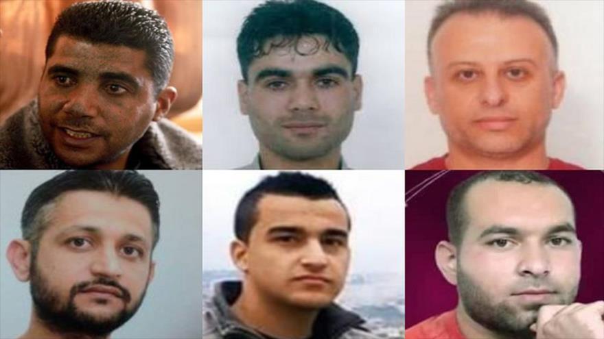 Presos palestinos recapturados, (de izq. a dcha.) Zakaria Zubeidi, Mahmud al-Ardah, Yaqub Qadri, Muhamad al-Ardah, Munadil Nafiyat e Iham Kamamji.
