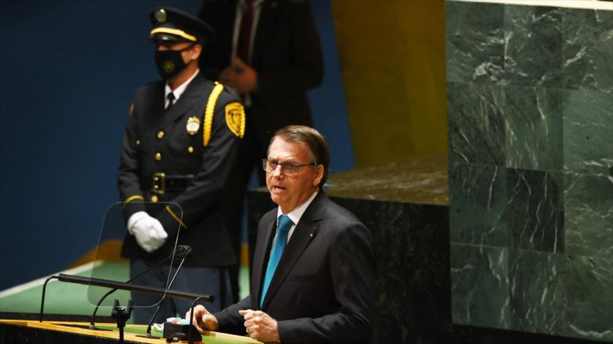 El presidente brasileño, Jair Bolsonaro, en el 76 ° período de sesiones de Asamblea General de la ONU, Nueva York, 21 de septiembre de 2021.(AFP)