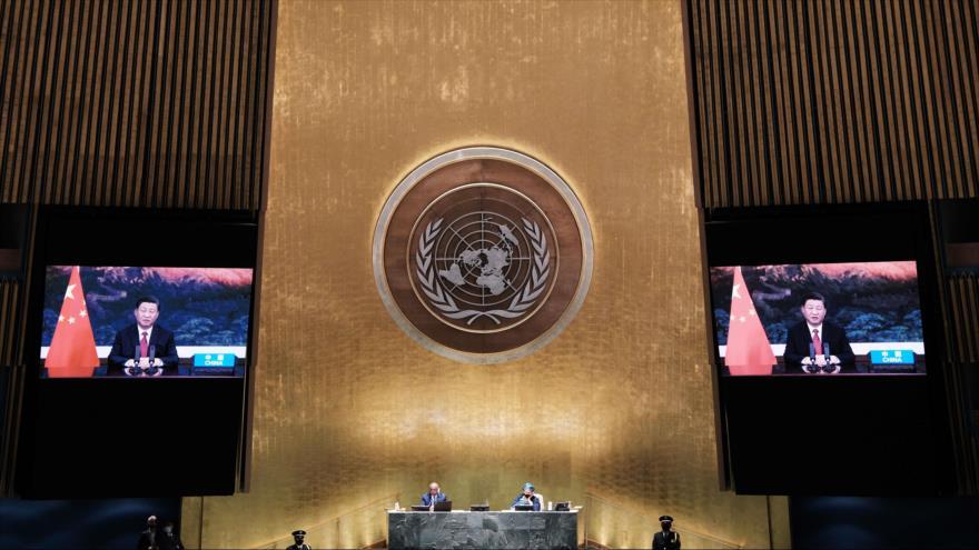 El presidente de China, Xi Jinping, ofrece un discurso en el 76.º período de sesiones de la AGNU, 20 de septiembre de 2021. (Foto: AFP)