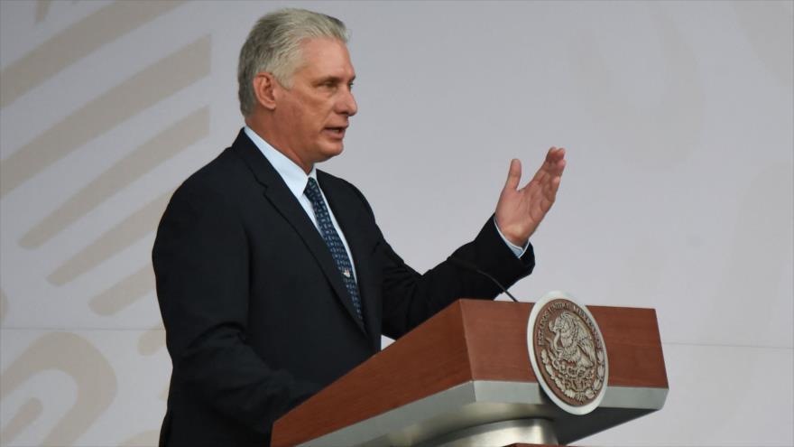 Presidente cubano, Miguel Díaz-Canel, habla en un acto en la Ciudad de México, capital mexicana, 16 de septiembre de 2021. (Foto: AFP)