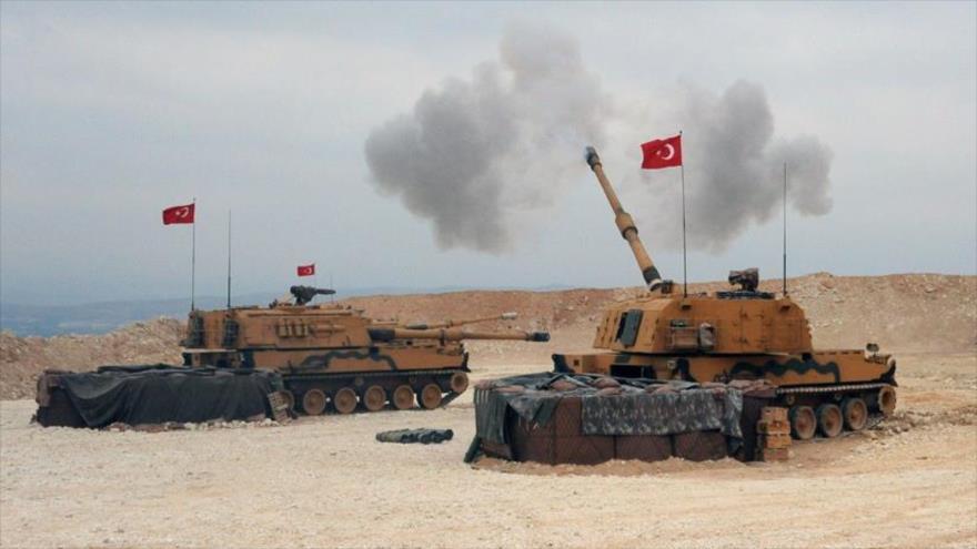 Una unidad de artillería del Ejército turco en el norte de Siria, 9 de octubre de 2019.