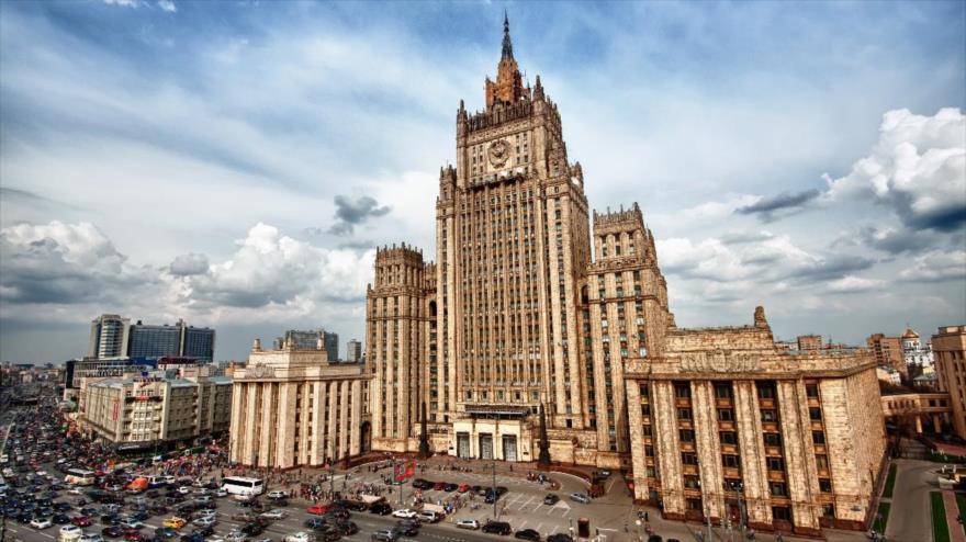 Una vista del edificio de la Cancillería de Rusia en Moscú, capital.