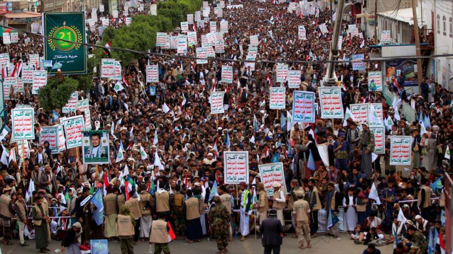 Yemeníes reiteran apoyo a Ansarolá en aniversario de caída de Hadi