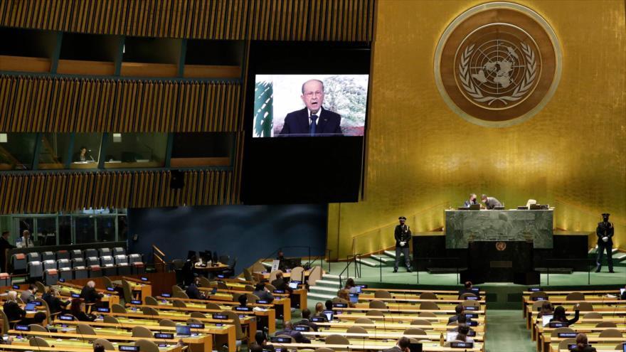 El presidente de El Líbano, Michel Aoun, habla en la 76.ª sesión de la Asamblea General de las Naciones Unidas, 24 de septiembre de 2021. (Foto: AFP)