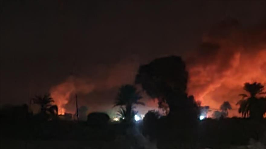 Media hora infernal: Yemen ataca al arsenal de armas saudí en Marib