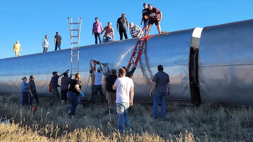 Descarrilamiento de un tren en Montana, EE.UU., 25 de septiembre de 2021.