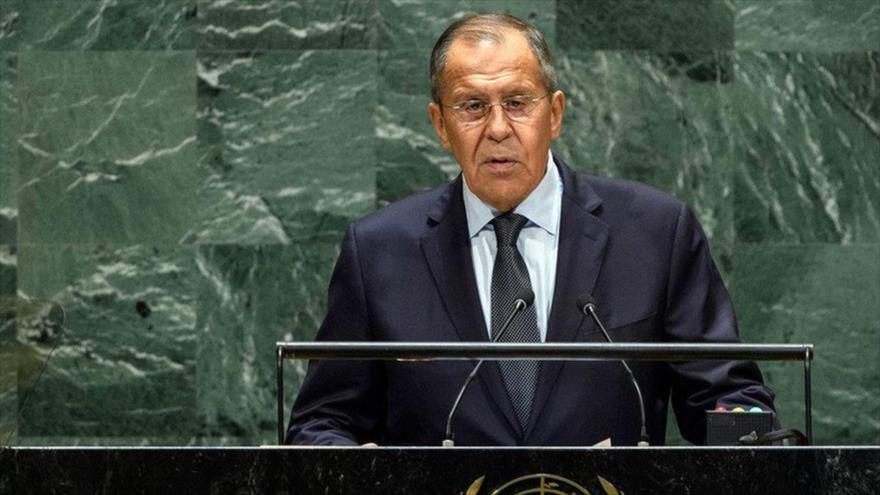 El canciller de Rusia, Serguéi Lavrov, en su intervención en una sesión de la AGNU en la ciudad estadounidense de Nueva York, 25 de septiembre de 2021.