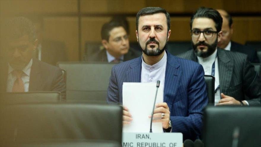 El representante permanente de Irán ante las organizaciones internacionales en Viena (Austria), Kazem Qaribabadi, durante una sesión de la AIEA.